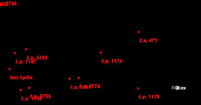 Zlín 1174 na parcele st. 1205 v KÚ Zlín, Katastrální mapa