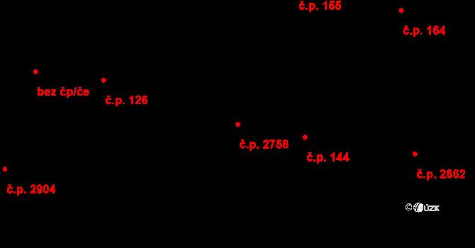 Zelené Předměstí 2758, Pardubice na parcele st. 10360 v KÚ Pardubice, Katastrální mapa
