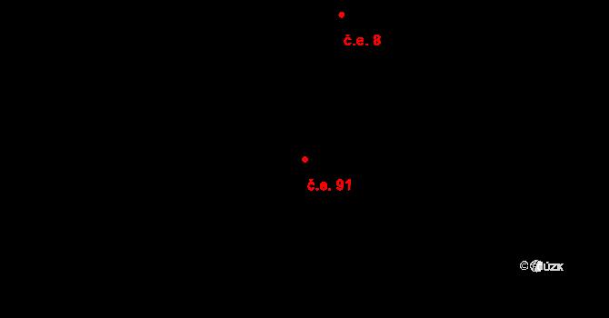 Horní Lomná 91 na parcele st. 636 v KÚ Horní Lomná, Katastrální mapa