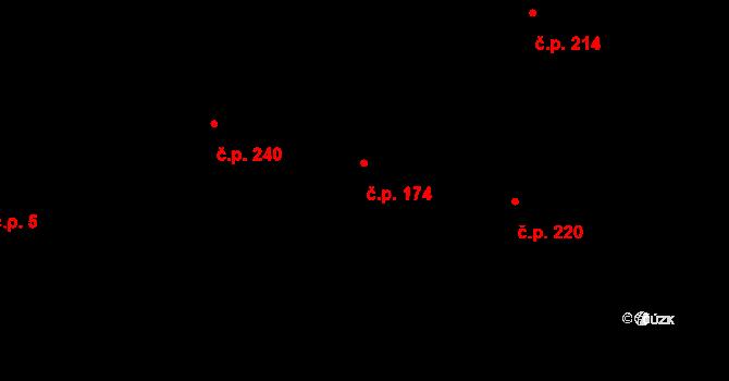 Dolní Počernice 174, Praha na parcele st. 300 v KÚ Dolní Počernice, Katastrální mapa