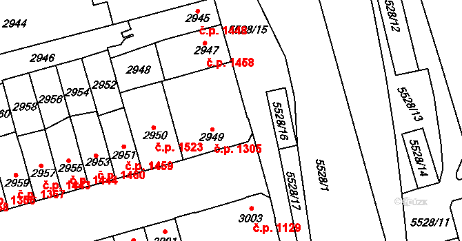 Židenice 1305, Brno na parcele st. 2949 v KÚ Židenice, Katastrální mapa