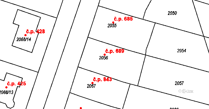 Nivnice 689 na parcele st. 2056 v KÚ Nivnice, Katastrální mapa