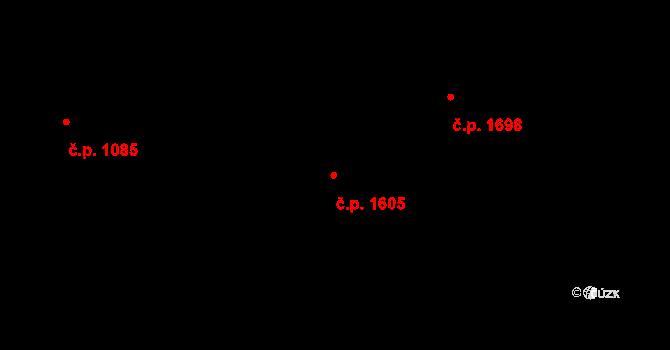 Švermov 1605, Kladno na parcele st. 1136 v KÚ Hnidousy, Katastrální mapa