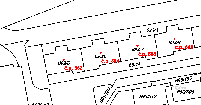 Karlín 564, Praha na parcele st. 693/6 v KÚ Karlín, Katastrální mapa