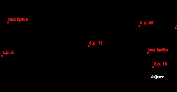 Kozojedy 11 na parcele st. 3 v KÚ Kozojedy, Katastrální mapa