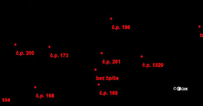 Roztoky 201 na parcele st. 192/1 v KÚ Roztoky u Prahy, Katastrální mapa