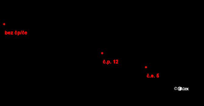 Malá Veleň 12 na parcele st. 26 v KÚ Malá Veleň, Katastrální mapa