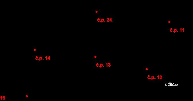 Tatiná 13 na parcele st. 13/1 v KÚ Tatiná, Katastrální mapa