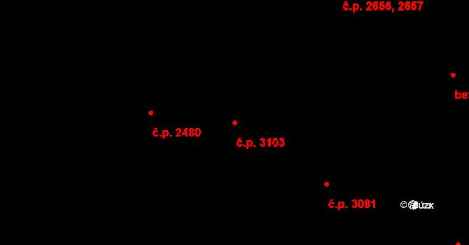 Smíchov 3103, Praha na parcele st. 3791/5 v KÚ Smíchov, Katastrální mapa