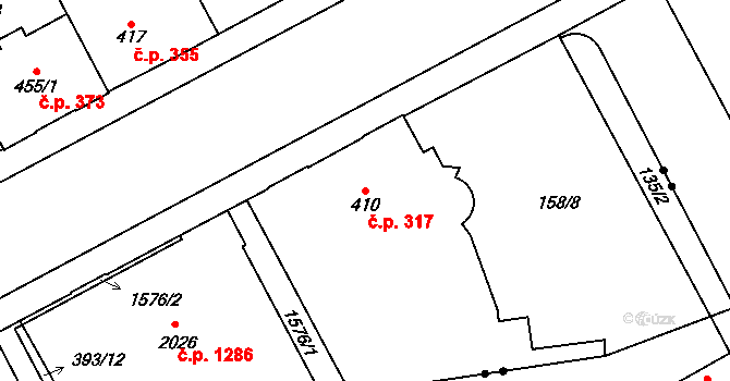Hradec Králové 317 na parcele st. 410 v KÚ Hradec Králové, Katastrální mapa