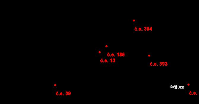 Pňovany 13 na parcele st. 1499/78 v KÚ Pňovany, Katastrální mapa