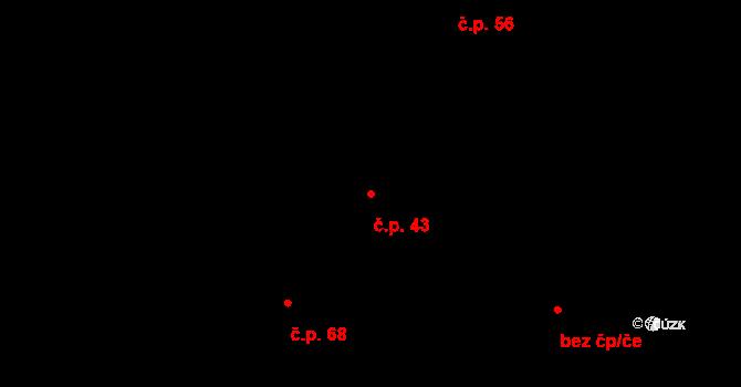 Vilémov 43, Humpolec na parcele st. 53/1 v KÚ Vilémov u Humpolce, Katastrální mapa