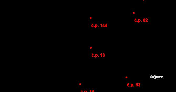 Mladeč 13 na parcele st. 71 v KÚ Mladeč, Katastrální mapa