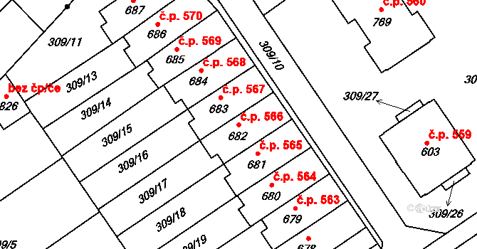 Studánka 566, Pardubice na parcele st. 682 v KÚ Studánka, Katastrální mapa