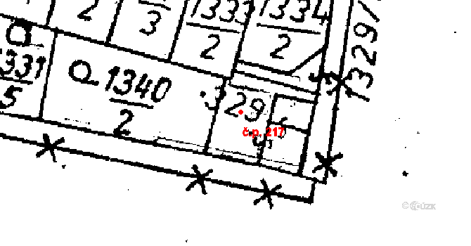 Starý Kolín 217 na parcele st. 329 v KÚ Starý Kolín, Katastrální mapa