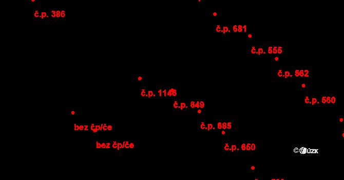 Velké Bílovice 649 na parcele st. 831 v KÚ Velké Bílovice, Katastrální mapa