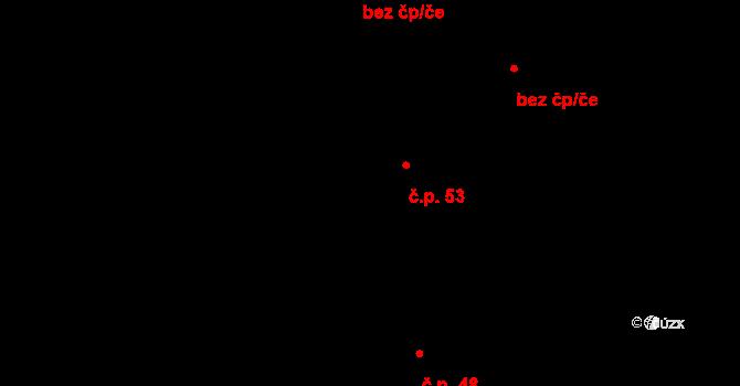 Petrovice 53 na parcele st. 53 v KÚ Petrovice u Lanškrouna, Katastrální mapa