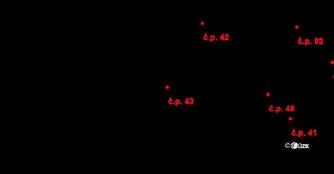 Stránka 43 na parcele st. 25 v KÚ Stránka u Mšena, Katastrální mapa