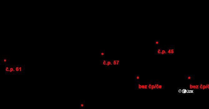 Tojice 57 na parcele st. 81 v KÚ Tojice, Katastrální mapa