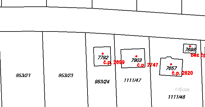 Cheb 2699 na parcele st. 7792 v KÚ Cheb, Katastrální mapa