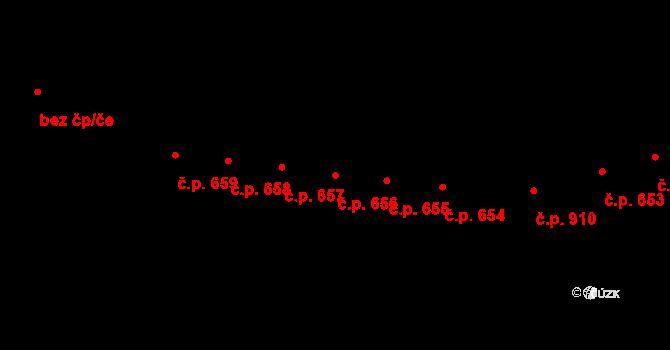 Kaplice 656 na parcele st. 2020/22 v KÚ Kaplice, Katastrální mapa