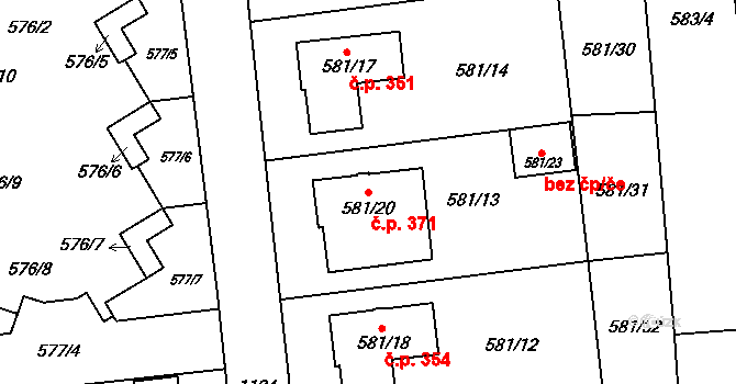 Slavonín 371, Olomouc na parcele st. 581/20 v KÚ Slavonín, Katastrální mapa