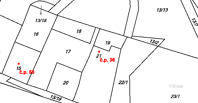 Malé Březno 36 na parcele st. 21 v KÚ Malé Březno, Katastrální mapa