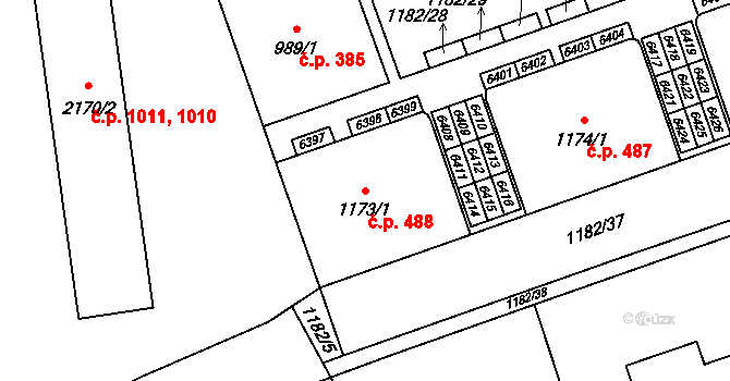 Beroun-Město 488, Beroun na parcele st. 1173/1 v KÚ Beroun, Katastrální mapa