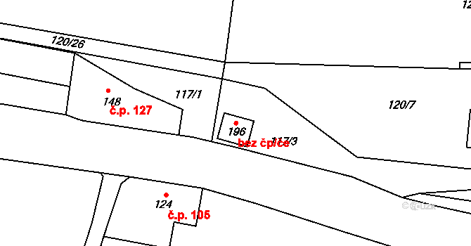 Aš 77934245 na parcele st. 196 v KÚ Doubrava u Aše, Katastrální mapa