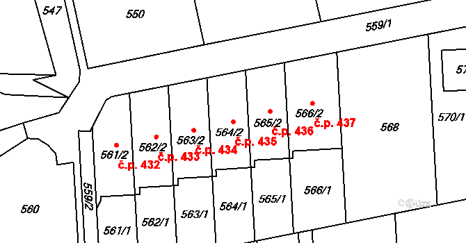 Baška 435 na parcele st. 564/2 v KÚ Baška, Katastrální mapa