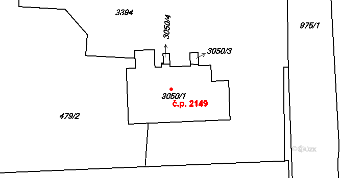 Nový Hradec Králové 2149, Hradec Králové na parcele st. 3050/1 v KÚ Nový Hradec Králové, Katastrální mapa
