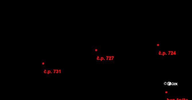 Prštné 727, Zlín na parcele st. 1165 v KÚ Prštné, Katastrální mapa