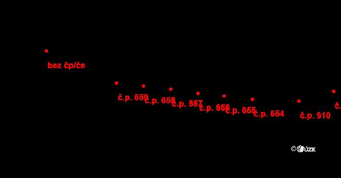 Kaplice 657 na parcele st. 2020/21 v KÚ Kaplice, Katastrální mapa