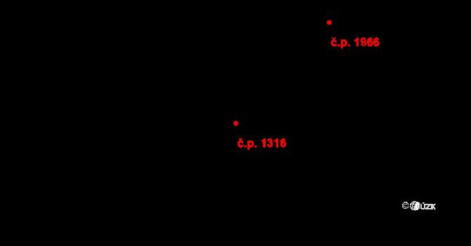 Teplice 1316 na parcele st. 1843 v KÚ Teplice, Katastrální mapa
