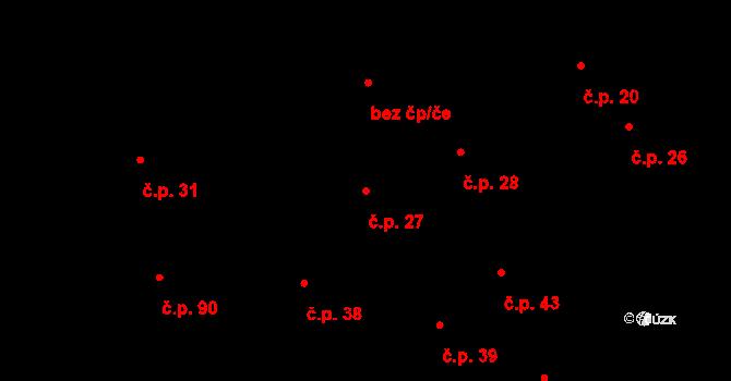 Radonice nad Ohří 27, Peruc na parcele st. 63 v KÚ Radonice nad Ohří, Katastrální mapa