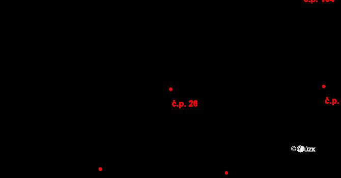 Lípa nad Orlicí 26 na parcele st. 26 v KÚ Lípa nad Orlicí, Katastrální mapa