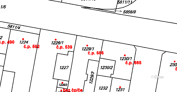 Židenice 666, Brno na parcele st. 1229/1 v KÚ Židenice, Katastrální mapa