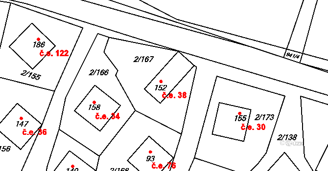 Lhota 38, Mladošovice na parcele st. 152 v KÚ Lhota u Vlachnovic, Katastrální mapa