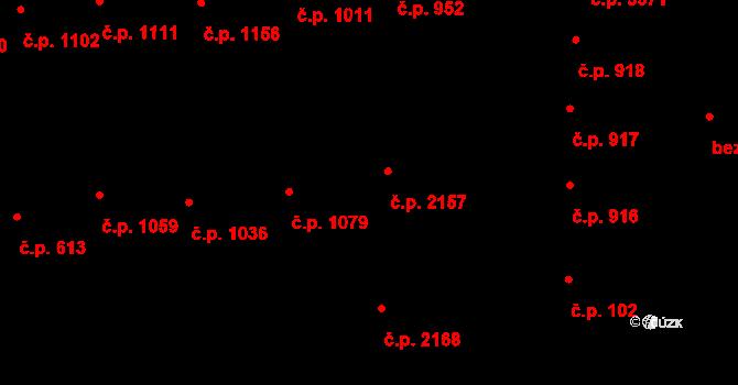 Hodonín 2157 na parcele st. 1959 v KÚ Hodonín, Katastrální mapa