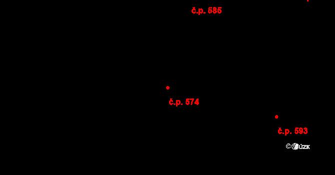 Mladcová 574, Zlín na parcele st. 1019 v KÚ Mladcová, Katastrální mapa