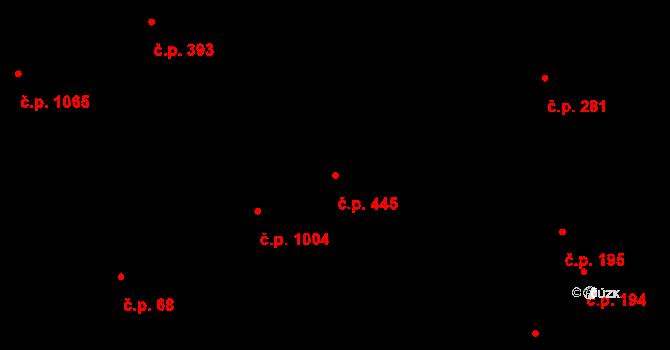 Lhotka 445, Praha na parcele st. 1013/2 v KÚ Lhotka, Katastrální mapa