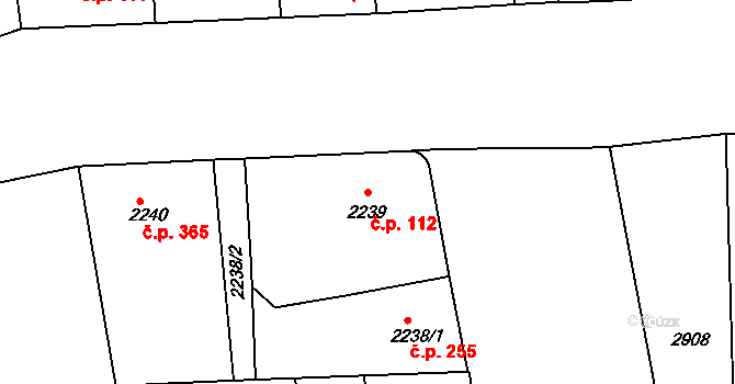 Smíchov 112, Praha na parcele st. 2239 v KÚ Smíchov, Katastrální mapa