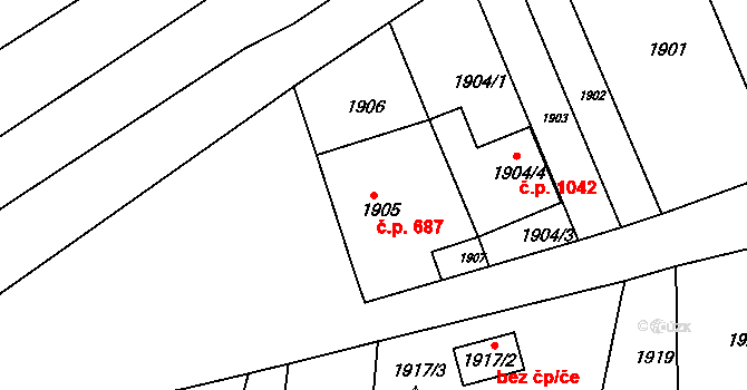 Újezd u Brna 687 na parcele st. 1905 v KÚ Újezd u Brna, Katastrální mapa