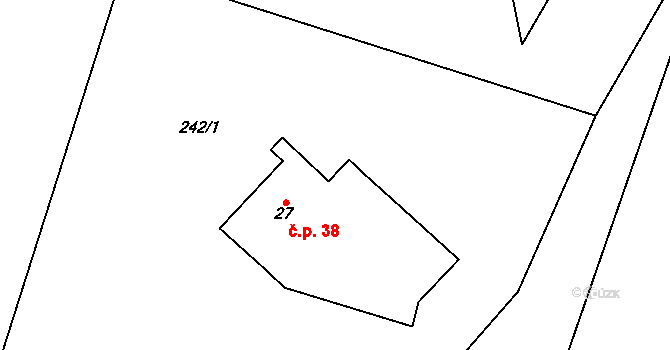 Lhota 38, Chuchelna na parcele st. 27 v KÚ Lhota Komárov, Katastrální mapa