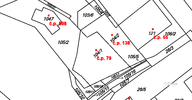 Mladcová 79, Zlín na parcele st. 104/1 v KÚ Mladcová, Katastrální mapa