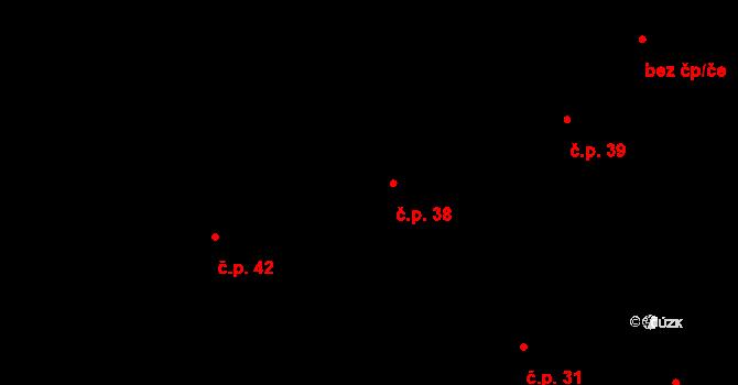 Hrabí 38, Bílá Lhota na parcele st. 43 v KÚ Hrabí, Katastrální mapa