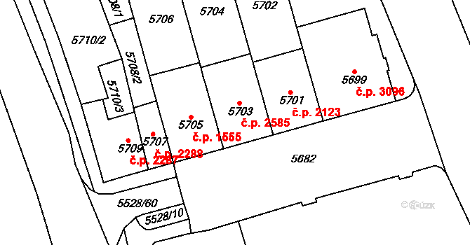 Židenice 2585, Brno na parcele st. 5703 v KÚ Židenice, Katastrální mapa