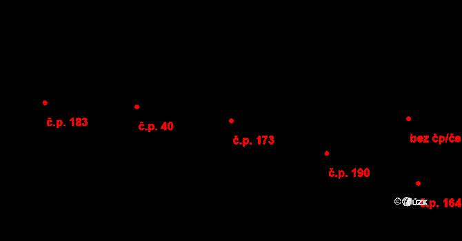 Třebeš 173, Hradec Králové na parcele st. 311 v KÚ Třebeš, Katastrální mapa