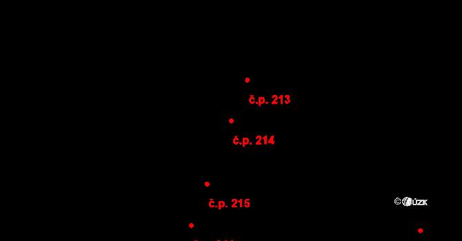 Vážany 214, Kroměříž na parcele st. 649 v KÚ Vážany u Kroměříže, Katastrální mapa