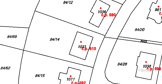 Mladcová 610, Zlín na parcele st. 1033 v KÚ Mladcová, Katastrální mapa
